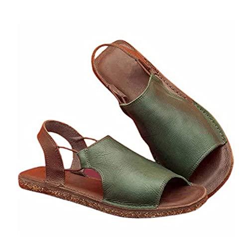 Sandalias romanas para mujer, zapatos planos de verano al aire libre con...