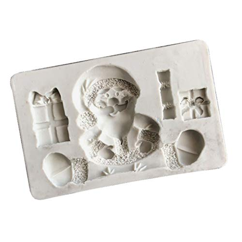 Shefii 3D Santa Claus Gift Box Resin Mold SiliconeChristma Gifts Featival Fondant Molds