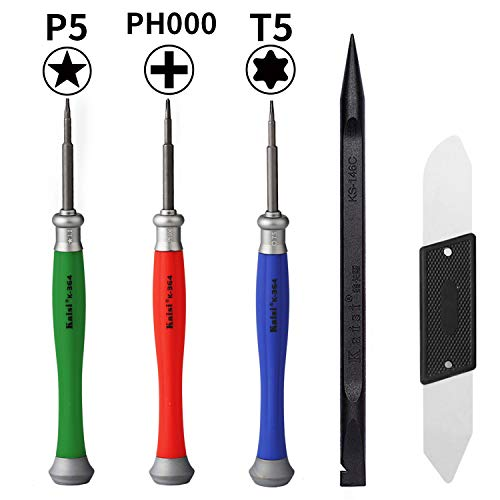 Kaisi 5pcs MacBook Repair Tool Kit Precision P5 Pentalobe Screwdriver, T5 Torx and PH000 Phillips Screwdriver with Ultra-Thin Steel and Nylon Spudgers for MacBook Pro & MacBook Air with Retina Display