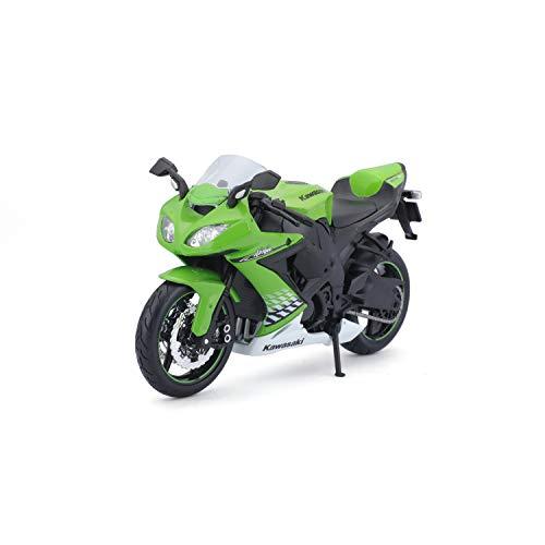 Bauer Spielwaren 2049757 Maisto Kawasaki Ninja ZX-10R: Originalgetreues Motorradmodel, Maßstab 1:12, mit Federung und ausklappbarem Seitenständer, grün (531187)