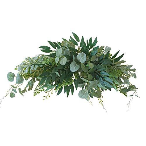 YLSZHY Guirnalda de hojas artificiales de 70 cm con hojas de eucalipto, guirnalda floral para decoración de pared de arco de boda, decoración de pared