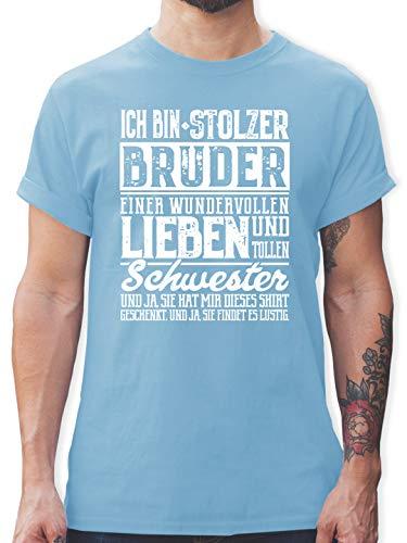Bruder & Onkel - Ich Bin stolzer Bruder Einer tollen und wundervollen Schwester - L - Hellblau - Tshirt Herren Bruder und Schwester - L190 - Tshirt Herren und Männer T-Shirts