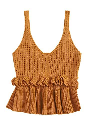 SweatyRocks Women's Casual Spaghetti Strap Ruffle Hem Peplum Cropped Knit Sweater Brown L