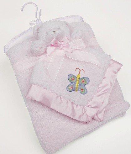 Katie Petit Ours de sécurité brodé Doudou pour bébé avec landau Couverture assortie (Rose)