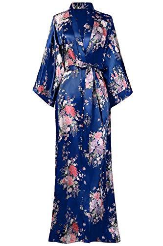 BABEYOND Damen Morgenmantel Maxi Lang Seide Satin Kimono Kleid Blütenkirsche Muster Kimono Bademantel Damen Lange Robe Blumen Schlafmantel Girl Pajama Party 135 cm Lang (Blau)