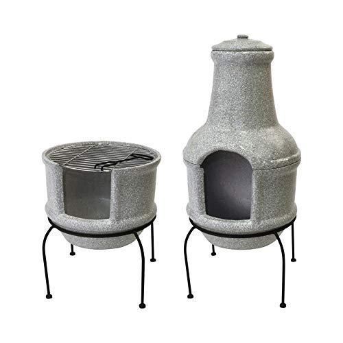Esschert Design Terrassenofen/Grill im Betonlook, Größe S, aus Ton/Eisen, 39 x 38,5 x 84 cm, zweiteilig, 2in1 Grill und Ofen