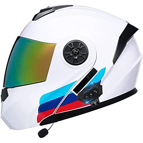 Casco de Moto Modular con Bluetooth Integrado,Con Doble Visera,Casco Moto Integral Casco de Moto de Carreras Moto Abatible Casco Integral para Mujer Hombre Adultos,ECE Homologado B,L=59~60CM