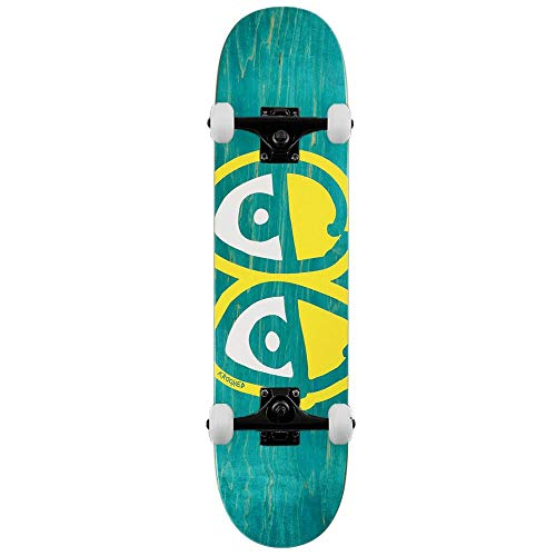 Krooked Team Eyes - Skateboard completo, motivo: Woodstainers, 20,5 cm, colore: Nero Giallo