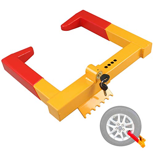OKLEAD Trailer Wheel Locks clamp - Tire Lock Anti Theft Wheel Boot tire Claw Security Boots for ATV Trailers Yellow/Red 2 Keys