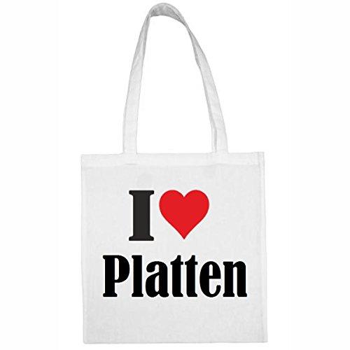 Tasche I Love Platten Größe 38x42 Farbe Weiss Druck Schwarz