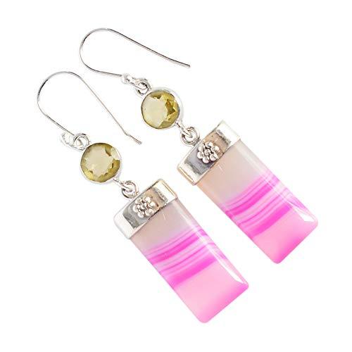 Pendientes de ágata rosa, citrino, plata de ley 925 maciza, joyería de piedra preciosa, regalo de diseñador para mujer FSJ-3788