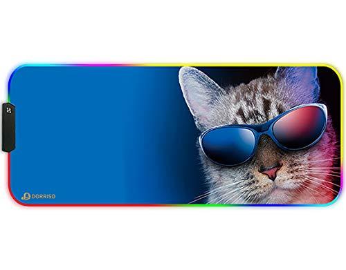 DORRISO RGB Alfombrilla de Ratón Juegos Grande XLL 900 x 400 x 3 mm Gaming Alfombrilla Raton Impermeable con Base de Goma Antideslizante para Gamers Ordenador PC y Laptop Mouse Pad Gato
