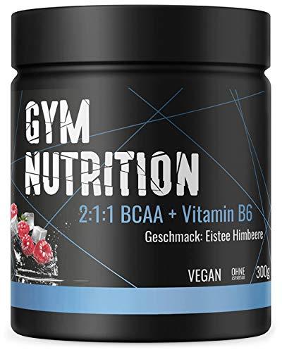 BCAA + Vitamin B6 hochdosiertes Pulver - Leucin, Isoleucin, Valin 2:1:1 - in deutscher premium Qualität - Vegan (Eistee-Himbeere)
