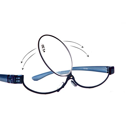 Adjustable Lens Cosmetic use of Eyeglasses Eyeglasses Makeup Reading Glasses Enlarged Folding Makeup Reading Glasses Women (2.0, Blue)