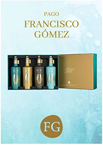 Geschenkbox mit EVOO Natives Olivenöl extra mit vier Sorten 100% Chiquitita, 100% Picual, 100% Grosal und 100% Cornicabra à 500 ml.