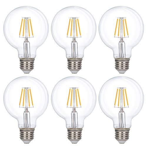 Simba Lighting LED Edison Vintage Vanity Globe Filament G25 (G80) 4W Dimmable 40W Equivalent (6 Pack) 120V Light Bulb for Bathroom Makeup Mirror, Medium E26 Base, UL Certified, Warm White 2700K