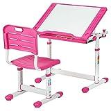 Children Desk Kids Study Child School Adjustable Height Children's Table Chair Set with Storage for Kids,Pink