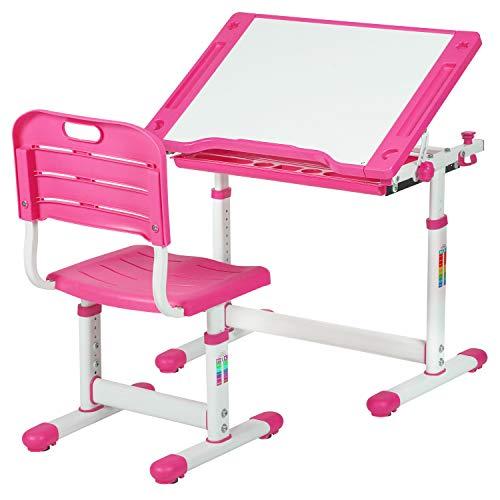 Children Desk Kids Study Child School Adjustable Height Childrens Table Chair Set with Storage for Kids,Pink