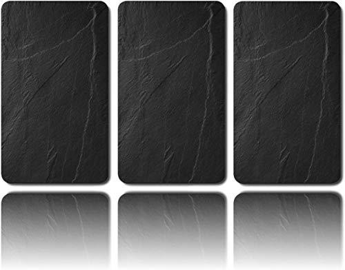 BestAccessoires4All 3er Glas Herdabdeckplatte Herdabdeckung Schneidebrett Abdeckplatte Ceranfeld Design Schiefer speziell für große 80 cm Kochfelder