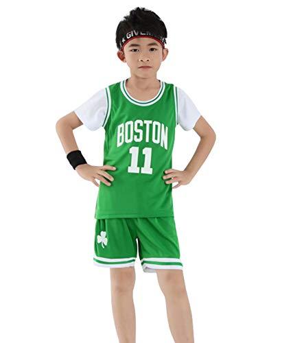 Kinder Basketball Trikot Celtics Irving # 11 Anzug, Jungen Mädchen Sommer 2 Stück Weste und Shorts Set Teenager Trainingsanzug Sportswear Basketball Weste Trikot-Green-S