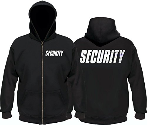 Coole-Fun-T-Shirts Security - Sweatshirtjacke mit Kapuze - reflektierende Folie schwarz Gr.L