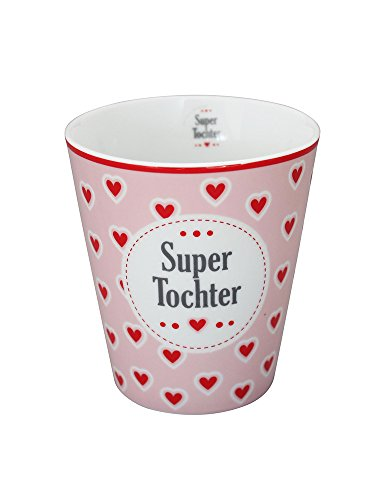 Krasilnikoff - Mug - Becher - Tasse - 'Super Tochter' - Porzellan - Höhe 10cm