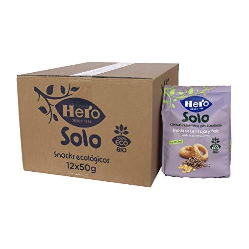 Hero Solo - Snacks de Lentejas y Maíz, No Fritos y sin Sal Añadida, para Bebés a Partir de los 12 Meses - Pack de 12 x 50 g
