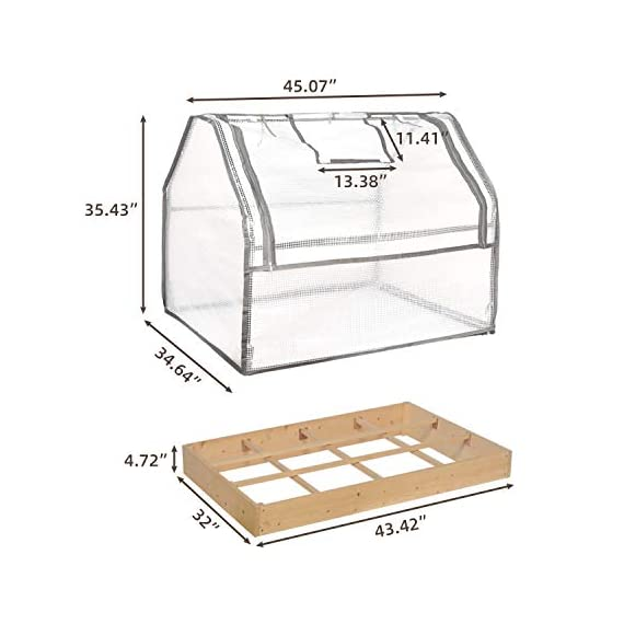 """Solid wood raised garden bed set for vegetable/flower/fruit 48"""" l×22"""" w×30"""" h box nature wood (raised garden bed) 3 material - translucent mesh-like pe cloth that prevents direct sunlight on the basis of easy observation of plant growth. The support tube is made of metal and is equipped with a plastic connection. No installation tools, easy to install and stable. Combined design - this wood raised garden bed can be combined with our other greenhouse to ensure the plant cultivation temperature throughout the greenhouse. The greenhouse and the raised garden are connected by metal buckles,the included installation tool can be easily installed. Special design - the product is equipped with a viewing port and can be opened and closed by a zipper. The product is equipped with a viewing port and can be opened and closed by a zipper. Facilitate observation of plant growth status and watering plants"""