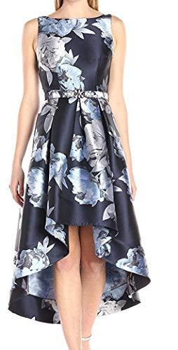 Eliza J Women's Sleeveless Floral High-Low Hem Dress, Navy/Silver, 12