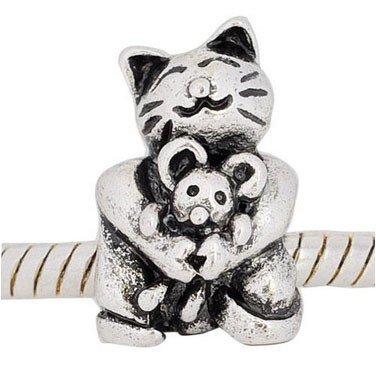 Andante-Stones Silber Bead Katz und Maus Element Kugel für European Beads Modul Armband + Organzasäckchen