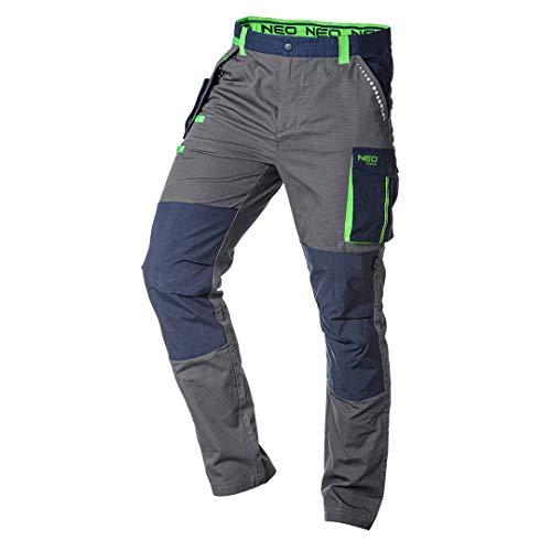 NEO TOOLS Herren Premium Arbeitshose, 100% Baumwolle 210 g/m2, Ripstop, Gr. XS-3XL, Kniebereich mit Cordura verstärkt, regulierbarer Gummibund mit Gürtelschlaufen