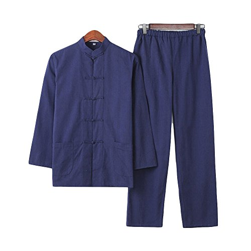 ZooBoo Chinese Martial Arts Suit - Chinese Traditional Tang Suit Costume Kung Fu Uniforms Long Sleeve Jacket Suits Shirt and Pant Outfit Uniforms for Man - Pure Cotton (M/170, Navy Blue)