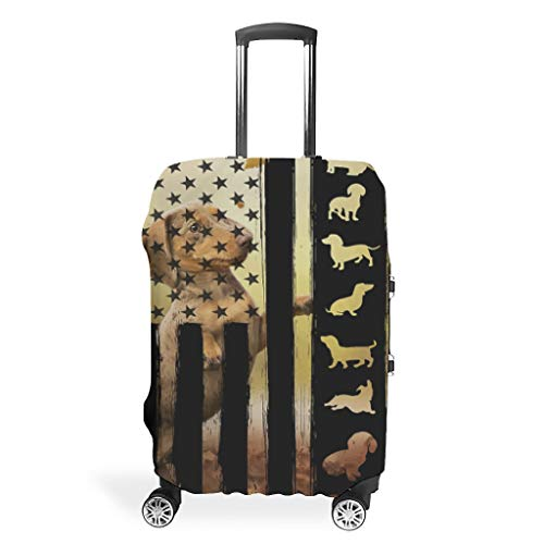 Dachshund Flag Premium Various Colors Travel Luggage Protector Suitcase Cover Custom 18/24/28/32 Inch for Travel White s (49x70cm)