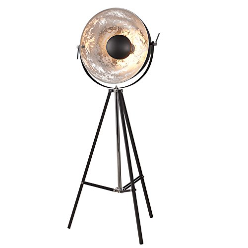 Moderne Design Stehlampe BIG STUDIO schwarz silber Lampe Blattsilber Optik 160 cm