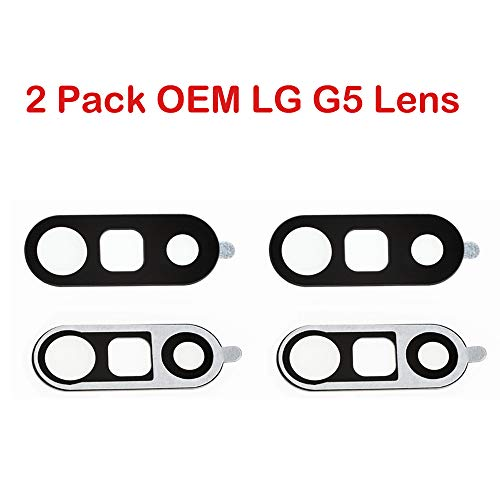 2 Pack OEM Back Camera Lens for LG G5 Black+ Preinstall Adhesive Fix Replacement Parts for LG G5 H850 VS987 H820 LS992 H830 US992