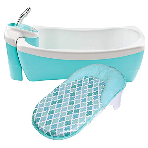 Summer Lil Luxuries Whirlpool Bubbling Spa & Shower (Blue) – Luxurious Baby Bathtub with Circulating Water Jets – Includes Deluxe Newborn Sling and Clean Rinse Spa/Shower Unit