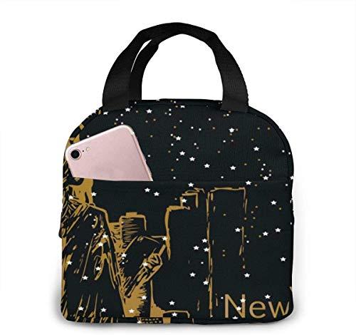 New York With Stars Bolsa de almuerzo para mujeres,niñas,niños,bolsa de picnic aislada,bolsa gourmet,bolsa cálida para el trabajo escolar,oficina,camping,viajes,pesca