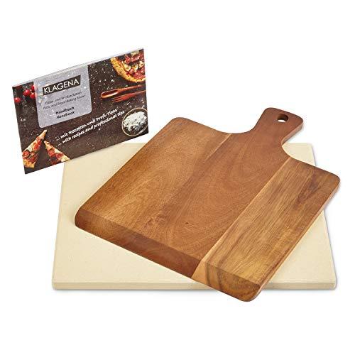 KLAGENA AS-626 pizzasteen set voor oven & grill, incl. pizzasteen & pizzaschep van hoogwaardig acaciahout, set broodbakstenen van cordieriet 38 x 30 x 1,5 cm