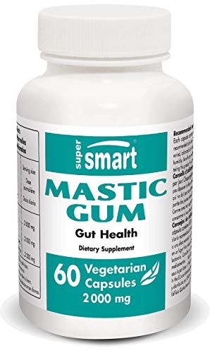 Supersmart - Mastic Gum 2000 mg Per Serving - Natural Treatment Against H. Pylory Infection, Heartburn & Acid Relfux - Clean Label & Non-GMO - 60 Vegetarian Capsules