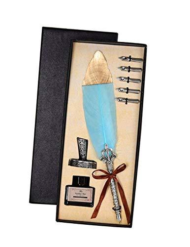 Pluma de pluma Pluma de tinta Pluma de caligrafía Juego de pluma de escritura Pluma de pluma con 5 puntas de acero inoxidable en diferentes tamaños, Regalo para cumpleaños, Navidad (Sin tinta)