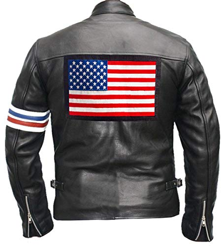 Cafe Racer Herren Vintage Easy Motorrad Rider USA Flagge Biker Schwarz Echtleder Jacke