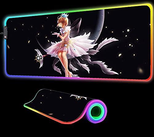 Anime Card Captor Sakura RGB Tapis de Souris Gaming Lumineux LED Tapis de Clavier D Ordinateur Accessoires de Jeu Tapis de Bureau Pc Notebook XXL 600X300X4 mm