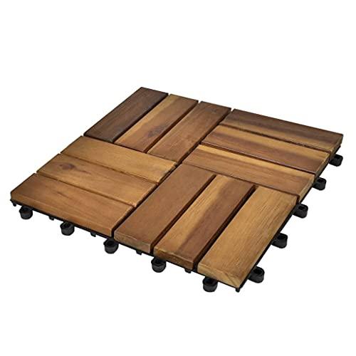 HUANGFINPI Material de baldosa: Madera de Acacia Dura (barnizada) Baldosas de Porche de Acacia 10 Piezas 30x30 cm