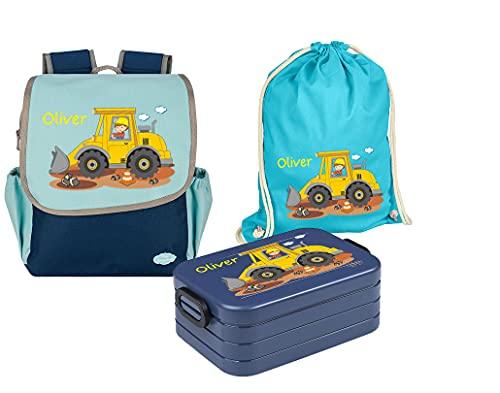 Mein Zwergenland Set 4 Kindergartenrucksack mit Brotdose und Turnbeutel Happy Knirps Next mit Name Baustelle, 3-teilig, Blau