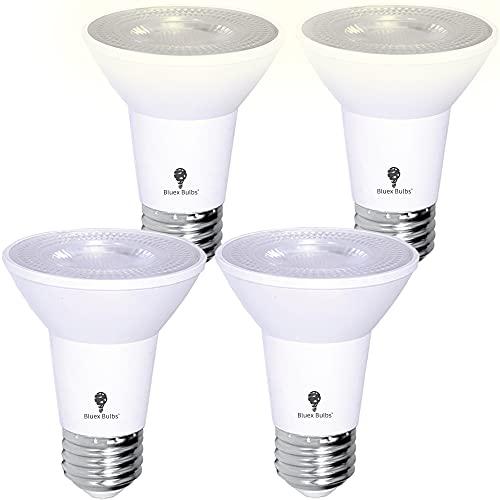 Paquete de 4 bombillas LED PAR20 para exteriores con sensor de fotocélula de 8 W, equivalente a 65 W, 700 lúmenes, resistente al agua, E26 5000 K, luz blanca fría, superbrillante, luz de seguridad para interiores y exteriores