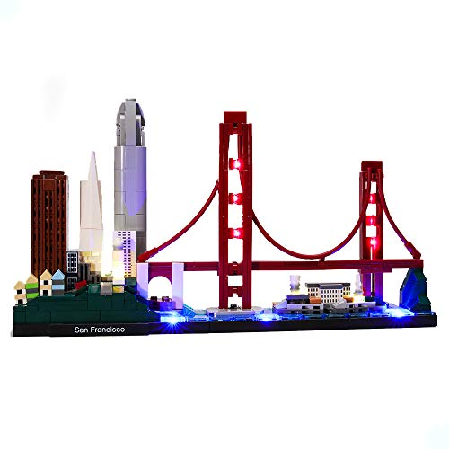 HZQM USB Light Kit for Architecture Skyline Collection San Francisco Golden Gate Bridge - Compatible with Lego 21043 Bricks Model (Lego Set Not Included)