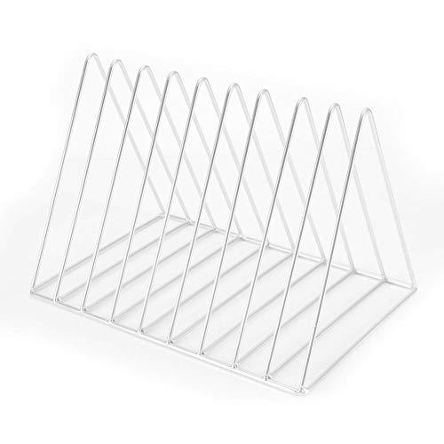 Datei Organizer multifunktionale Eisen Desktop Bücherregal Bücher Zeitschriften Rack Halter für Office Home School(Weiß)