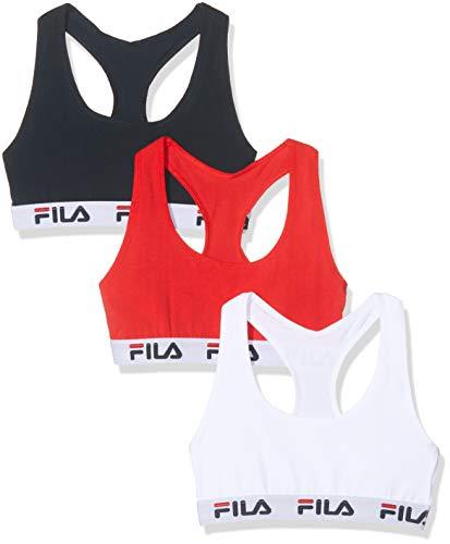 Fila Sujetador deportivo para Mujer, Multicolor, Small (pack de 3)