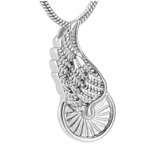 wcylj Urne Anhänger Edelstahl Einzigartige Hot Angel Wings Anhänger Urne Rose Offene Phiole Andenken Asche Kapsel Einäscherung Halskette Für Kinder Männer