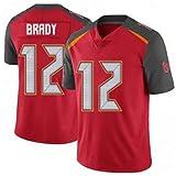 HRHT Männer Fußball T-Shirt Tampa Bay Buccaneers 12# Tom Brady Jersey Gesticktes Fußball-Sporttrikot Kurzarm Top T-Shirt Jersey
